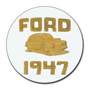1947 Ford Dealership White And Gold Reproduction Aluminum 11.75 Inch Circle Sign