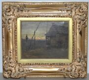 George Glenn Newell American 1870-1947 View From Cabin Oil Painting 19th C.