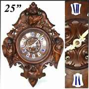 Antique Victorian Era Black Forest Carved 25 Wall Or Parlor Clock Hunt Theme