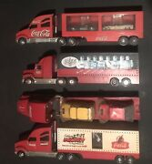 Lot Of 4 Coca Cola Holiday Carrier Collectible Toy Trucks Santa Clause Edition