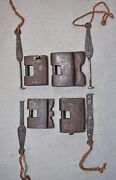 Lot Of 4 Original Old Antique Hand Crafted Strip System Iron Locks Working