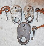 Lot Of 3 Original Old Antique Lever System Iron Pad Locks With Key Working