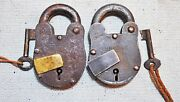 Lot Of 2 Original Old Antique Lever System Iron Pad Locks With Key Working
