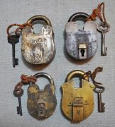 Lot Of 4 Original Old Antique Lever System Brass Pad Locks With Key Working