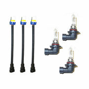 For New 9005 Set Of 6pcs Wire Socket Headlight Connector Adaptor And 65w Lamp Bulb
