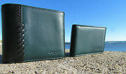 New 195 Coach Wallet 21371 Baseball Stitch Leather Id Forest Green Black 3 In 1
