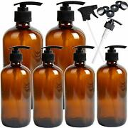 Youngever 6 Pack Empty Amber Glass Pump Bottles 2 Pack 16oz And 4 Pack 8oz Pump