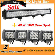 28inch 180w Combo Led Light Bar+ 4x 4 18w Pods Work Lamp Offroad Suv Driving
