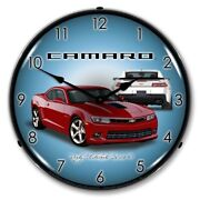 2014 Ss Camaro Crystal Red Backlit Led Lighted Wall Clock Man Cave Car Sign New
