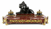 Continental Gilt Bronze And Solid Marble Double Inkwell Desk 19th Century