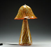 2pc Handcrafted Art Glass Table Lamp With Shade Michael Worcester Signed