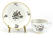 Chinese Export Porcelain Cup And Saucer C1790 Hand Painted Black Floral, Gilt Rims