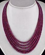 Red Natural Ruby Beads Round 5 Line 429 Carats Precious Gemstone Ladies Necklace