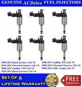 New Set Of 6 Oem Gm Fuel Injectors For 2008-2011 Buick Gmc Saturn Chevrolet 3.6l