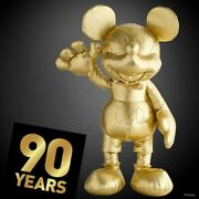 New Disney Mickey Mouse 90th Anniversary Large And Small Plush Gold Collection