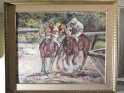 Vintage George Schwacha Painting Oil On Board Listed Artist 1908-1986 Horse Race