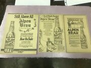 3 Alpen Brau The World's Best Bev.the Independent Breweries Co 1920 Nice Bottle