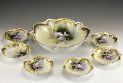 7pc Set R S Prussia Porcelain Berry Serving And Small Bowls Early 20th Century