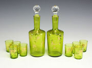 10pc Set Czech Bohemian Moser Hand Painted Double Carafes And 8 Glasses