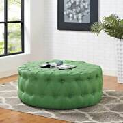 Mid-century Design Round Ottoman In Kelly Green Button-tufted Fabric