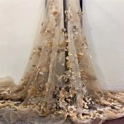 Gold Floral 3d French Lace Fabric. 5 Yards. Bridal Effect With Pearls