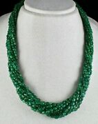 Antique Old Natural Emerald Beads Cabochon 11 Line 442 Carats Precious Necklace