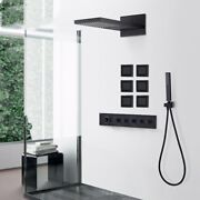 Matte Wall-mounted Shower Faucet Black Thermostatic Concealed Set 6pcs Body Jets