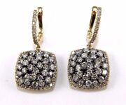 Fancy Color Round Diamond Square Cluster Drop Earrings 14k Yellow Gold 3.16ct