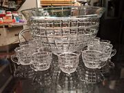 Rare Antique Large Heisey 18-20 Cup Punch Bowl With 12 Original Cups