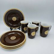 Vintage Set Of 4 Fitz And Floyd Medallion Dand039or Cognac Brown Cups And Saucers