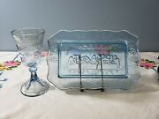 Vintage Tiara Exclusives Light Blue Glass Chalice And Plate Last Supper Easter