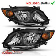 For 2009 2010 Toyota Corolla Black Factory Style Headlights Head Lamps Pair