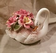 Easter Decor Large Swan W/ Roses Sculpture Signed Capodimonte White Porcelain