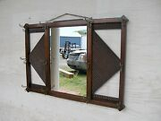 Antique Oak Hanging Hall Mirror Old Finish -selling Out Make Offer