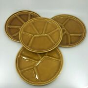 Gien France Amber Yellow Gold Fondue Divided Plate Dish 8.5 Set Of 4