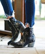 Bl1136-6 Old Gringo Navy Blue Flora Loca Embroidered Ankle Boots