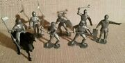 Vintage Marx 54mm Knights And Vikings Original 7 Poses Knights With Black Horse