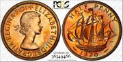 1970 Great Britain Half 1/2 Penny Pcgs Pr65rd Color Toned Coin In High Grade
