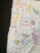 Antique/vtg Completed Embroidered Cross Stitched Plush Toys Baby Crib Quilt