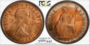 1967 Great Britain One 1 Penny Pcgs Ms64rb Circle Toned Coin None Graded Higher