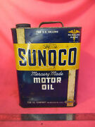 Vintage Sunoco Mercury Made Motor Oil Collector Can 2 Gal 20w