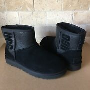 Ugg Classic Mini Ugg Sparkle Graphic Black Suede Sheepskin Boots Size Us 7 Women