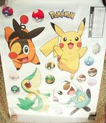 Pokemon Lot Huge Wall Mural Decals Stickers Rare Discontinued Pikachu Game Room