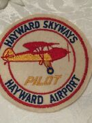 Vintage Hayward Airport Skyways Pilot Patch Aviation Airplane Collectible 4andrdquo