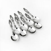 Lily Soup Spoons Round Bowls 8 Sterling Silver Whiting 1902