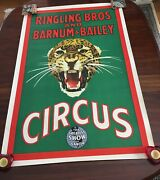 Ringling Bros Barnum And Bailey 1940's Leopard Circus Poster Rare/excellent