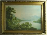 Vintage Russian Painting F. Matveyev Landscape A View Lago Maggiore 1808 Litho