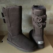 Ugg Allegra Ii Double Bailey Bow Chocolate Brown Suede Tall Boots Size 7 Womens