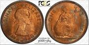 1967 Great Britain One Penny Pcgs Ms64rb Beautiful Toned Coin None Graded Higher