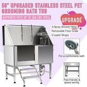304 Stainless Steel Professional Pet Dog Cat Wash Shower Grooming Bath Tub 50